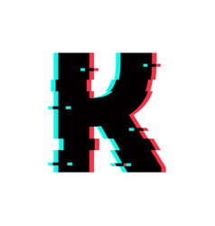 logo letter k glitch distortion vector image