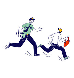 male police officer at work catching up pickpocket vector image