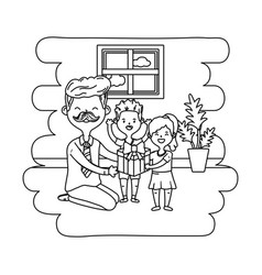 Man with children black and white vector