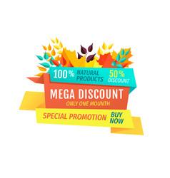 Mega discount special autumn promotion emblem vector