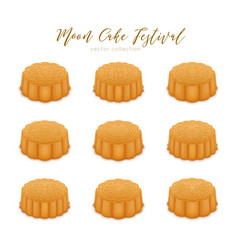 Mooncakes set for mid-autumn festival vector