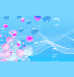 multicolored sphers and white wave background vector image