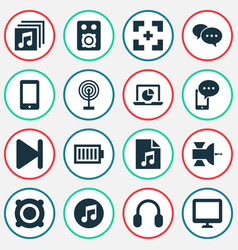 Music icons set with cellphone end albums and vector