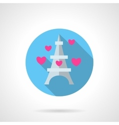 Paris symbol round flat icon vector