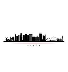 Perth skyline horizontal banner black and white vector