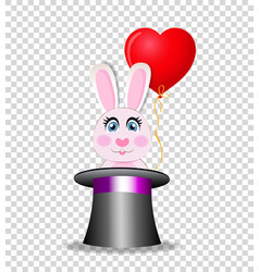 Pink rabbit with red balloon sitting in the black vector