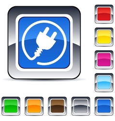 Power plug square button vector image vector image