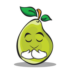 Praying face pear character cartoon vector