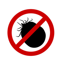 Prohibition sign for soaked ticks on white vector