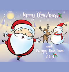 santa claus snowman and reindeer happy am in the vector image