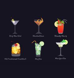 Set alcohol bar drinks - mojito vector