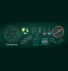 set coronavirus research vector image