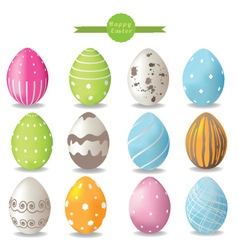 set of color easter eggs vector image