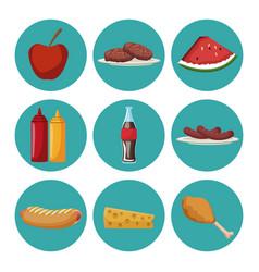 Set of picnic food vector