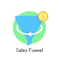 Simple sales funnel in green circle with coin vector