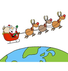 Team Of Reindeer And Santa vector image