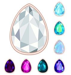 Teardrop gemstone set vector