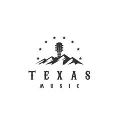 texas mountain country guitar music western vector image