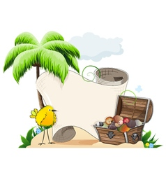 Tropical island with treasure chest vector image