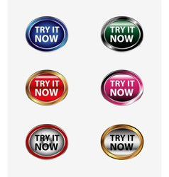 Try it now button icon set vector