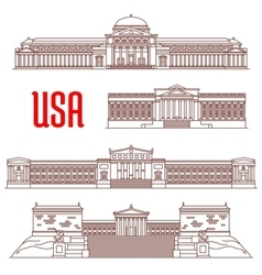 USA travel landmarks icon of architectural sights vector