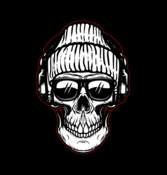 Vintage hipster skull in sunglasses and vector