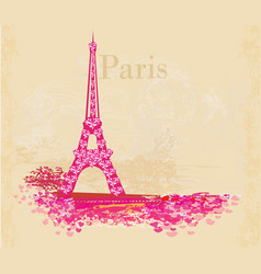Vintage retro eiffel tower abstract card vector