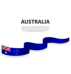 Waving ribbon or banner with flag australia vector