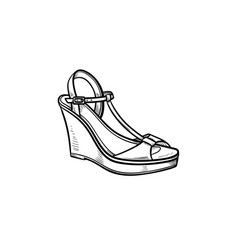 Wedge sandal hand drawn outline doodle icon vector