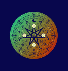 Wiccan symbol protection set mandala witches vector