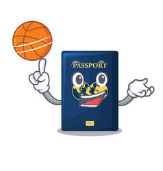 With basketball blue passport in the cartoon form vector