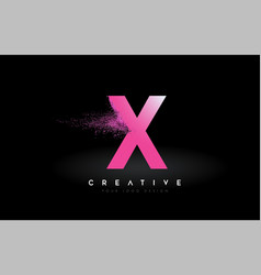 X letter logo with dispersion effect and purple vector
