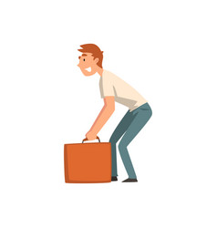 young man carrying heavy suitcase guy traveling vector image