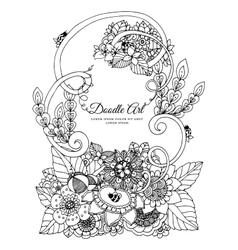 zentangl floral frame Doodle vector image