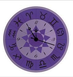 zodiac clock violet vector image