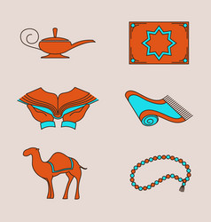 Arabic colorful icons set vector