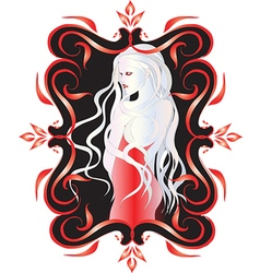 Beautiful vampire woman with long white hair i vector image vector image