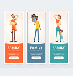 family banners set happy and tired parents with vector image