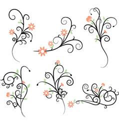 Flower Flourish Swirl elements vector image vector image