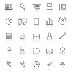Office line icon reflect on white background vector image vector image
