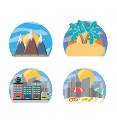 set landscape places to travel destination vector image