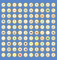100 seo and web icons set cartoon vector image vector image