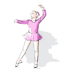 Ballerina little girl in a pink dress and pointe vector image