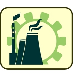energy generation atom station and gear icons vector image