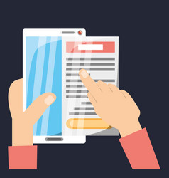 hands with smartphone and important document vector image