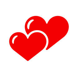 two hearts icon isolated love red smbol vector image vector image