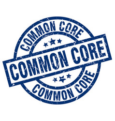 common core blue round grunge stamp vector image vector image