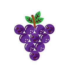 grapes happy fruit kawaii icon image vector image