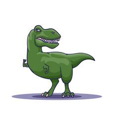 Hand drawn cartoon tyrannosaur shows his biceps vector