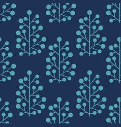 stylized plants on a blue background vector image vector image